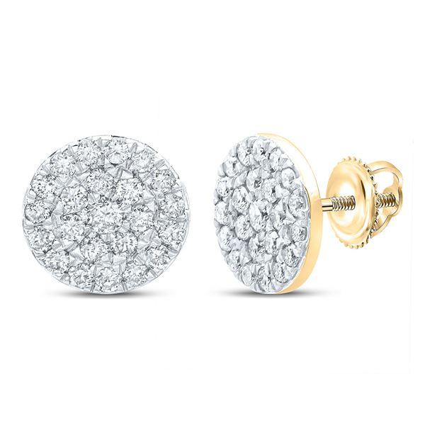 Diamond Cluster Earrings 1/2 Cttw 10kt Yellow Gold