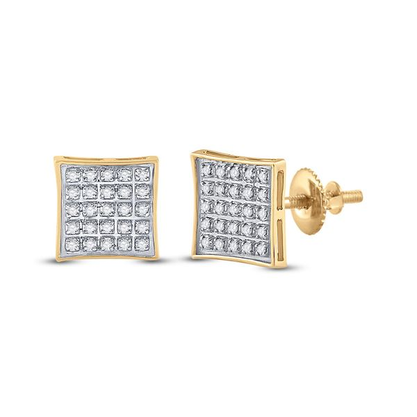 Mens Diamond Kite Square Earrings 1/6 Cttw 10kt Yellow Gold