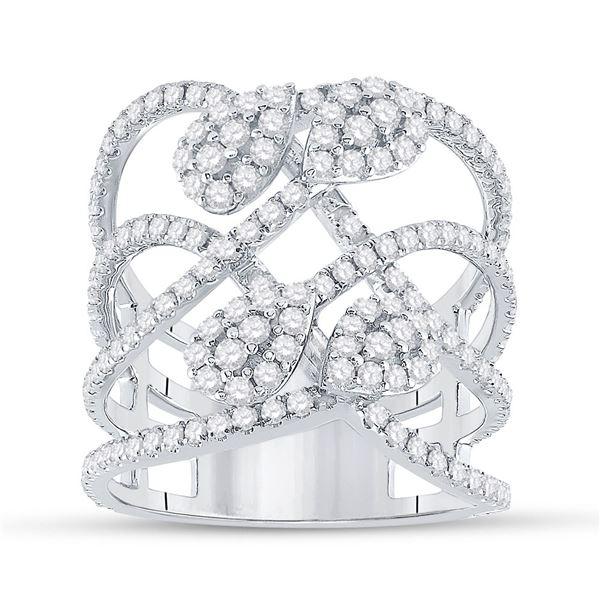 Diamond Abstract Strand Fashion Ring 1-1/2 Cttw 14kt White Gold