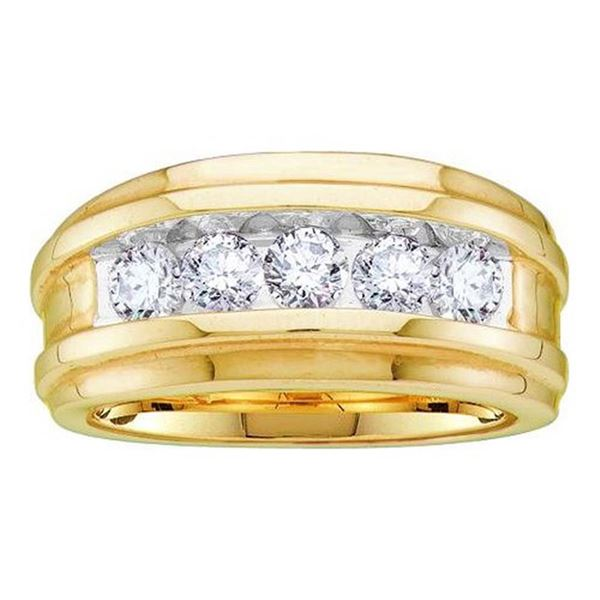 Mens Diamond Wedding Channel Set Band Ring 1 Cttw 14kt Yellow Gold