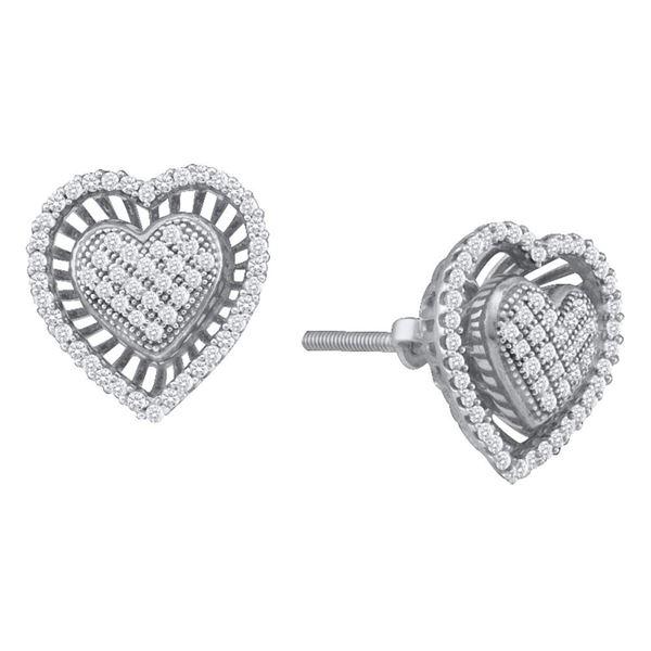 Diamond Heart Cluster Earrings 1/3 Cttw 10kt White Gold