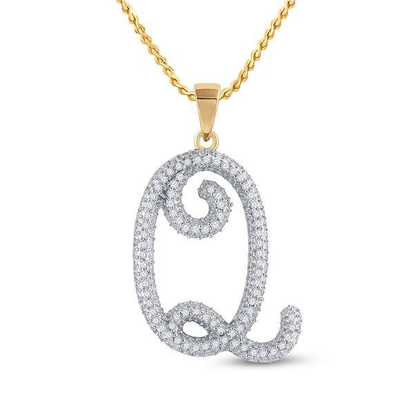 Diamond Initial Q Letter Pendant 1/4 Cttw 10kt Yellow Gold