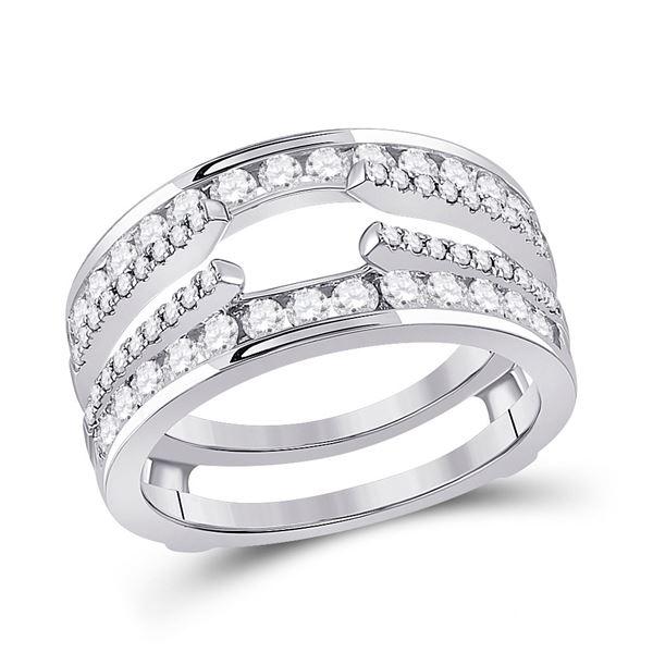 Diamond Wedding Wrap Ring Guard Enhancer 1 Cttw 14kt White Gold