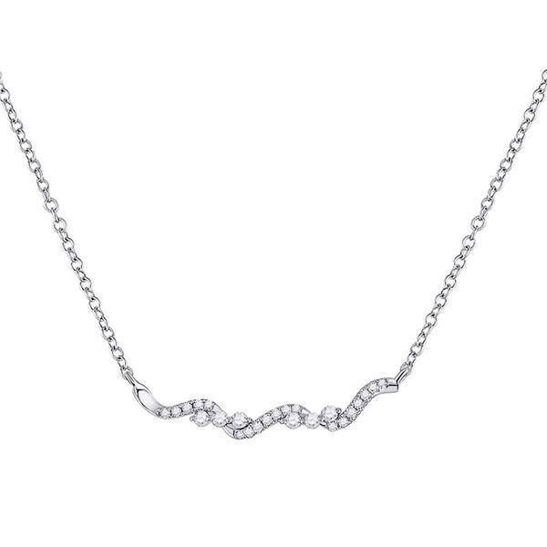 Diamond Bar Necklace 1/5 Cttw 14kt White Gold