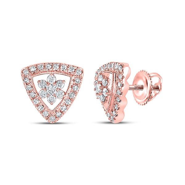 Diamond Cluster Triangle Earrings 3/8 Cttw 14kt Rose Gold