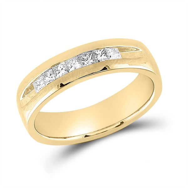 Mens Princess Diamond Wedding Single Row Band Ring 1/2 Cttw 14kt Yellow Gold