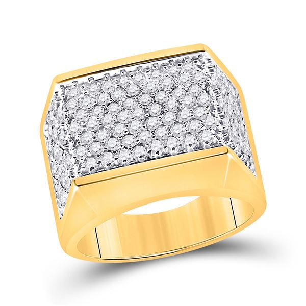 Mens Diamond Flat Top Cluster Ring 2-3/4 Cttw 10kt Yellow Gold