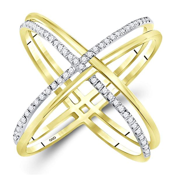 Diamond Crossover Band Ring 1/3 Cttw 10kt Yellow Gold