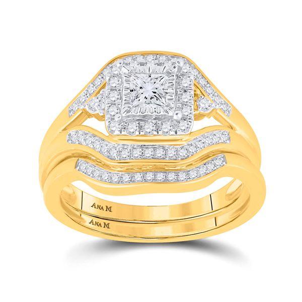 Princess Diamond Bridal Wedding Ring Band Set 1/2 Cttw 14kt Yellow Gold
