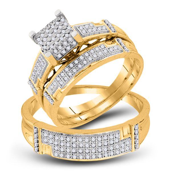 His Hers Diamond Square Matching Wedding Set 1/2 Cttw 10kt Yellow Gold