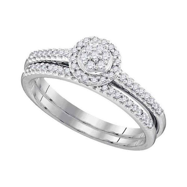 Diamond Cluster Bridal Wedding Ring Band Set 1/3 Cttw 10kt White Gold