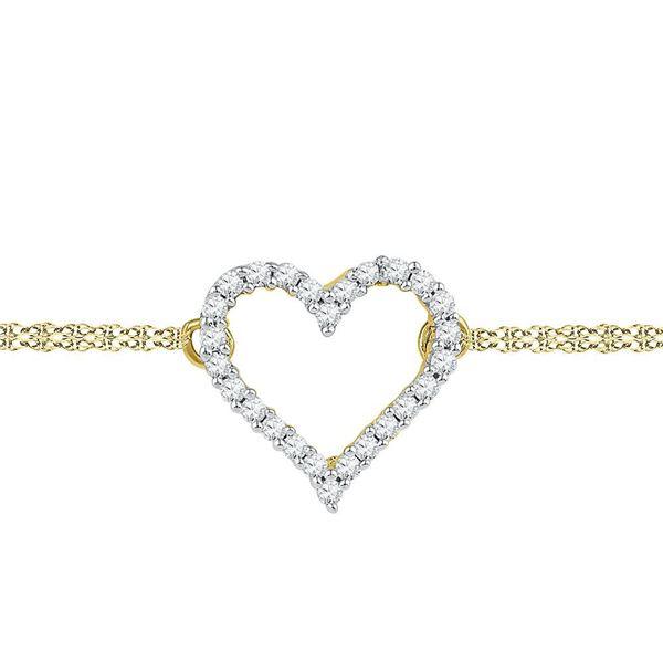 Diamond Heart Bracelet 1/8 Cttw 10kt Yellow Gold