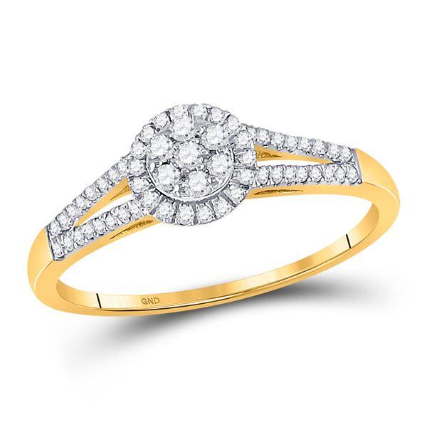 Diamond Flower Cluster Ring 1/5 Cttw 10kt Yellow Gold