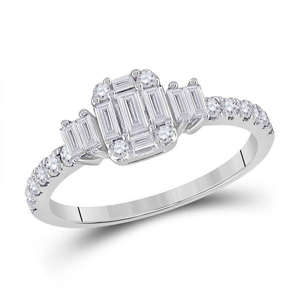 Baguette Diamond Cluster Ring 5/8 Cttw 14kt White Gold