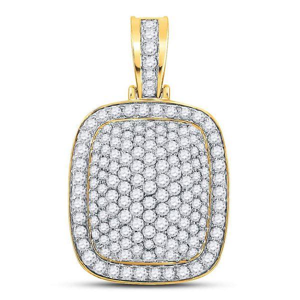 Mens Diamond Pillow Charm Pendant 3 Cttw 14kt Yellow Gold