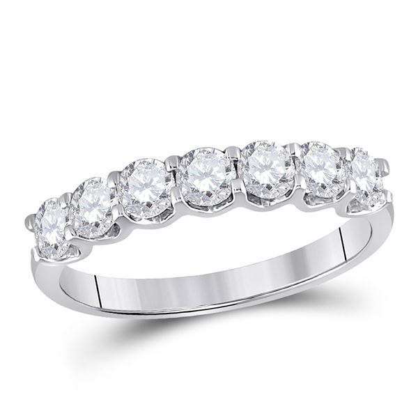 Diamond Classic Anniversary Band Ring 1 Cttw 14kt White Gold