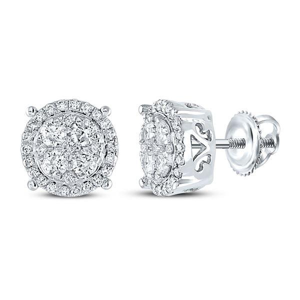 Diamond Circle Cluster Earrings 3/4 Cttw 10kt White Gold