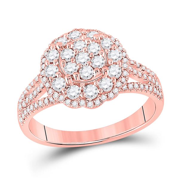 Diamond Halo Flower Cluster Ring 7/8 Cttw 14kt Rose Gold