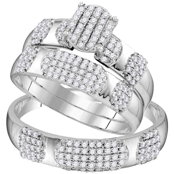 His Hers Diamond Oval Matching Wedding Set 3/4 Cttw 10kt White Gold
