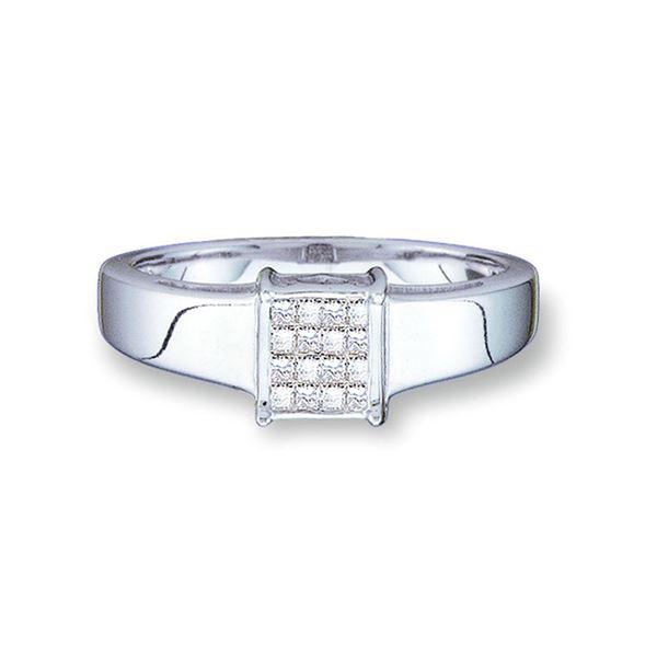 Princess Diamond Cluster Ring 1/5 Cttw 14kt White Gold