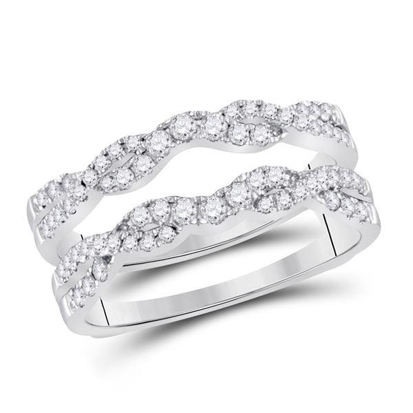 Diamond Wrap Ring Guard Enhancer 1/2 Cttw 14kt White Gold