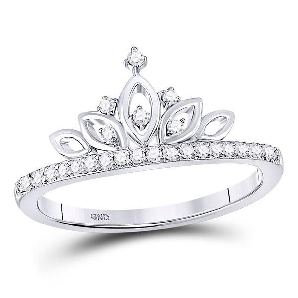 Diamond Crown Tiara Band Ring 1/6 Cttw 10kt White Gold