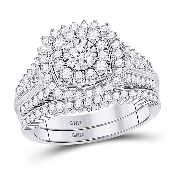 Diamond Bridal Wedding Ring Band Set 1-1/4 Cttw 10kt White Gold