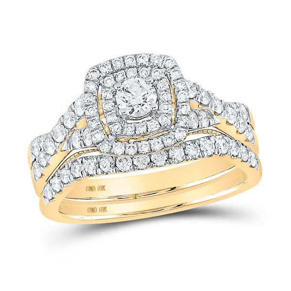 Diamond Halo Bridal Wedding Ring Band Set 1 Cttw 10kt Yellow Gold