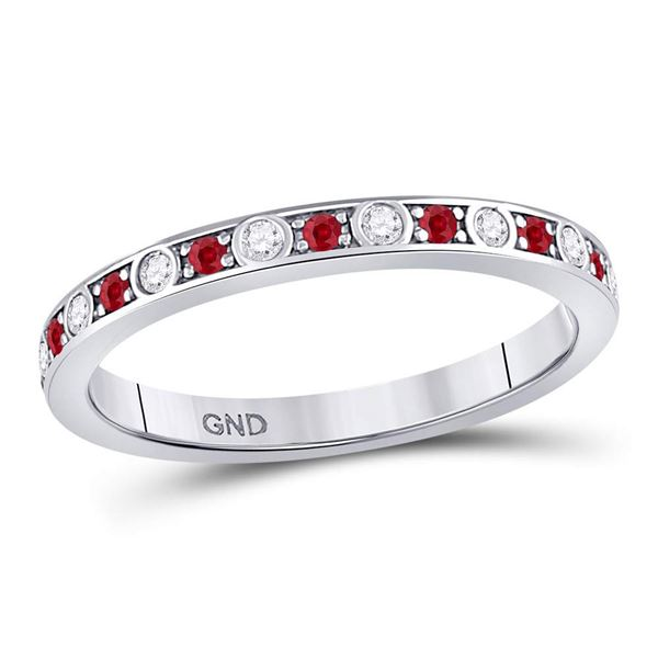 Ruby Diamond Single Row Stackable Band Ring 1/3 Cttw 10kt White Gold