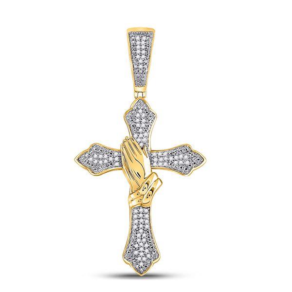 Mens Diamond Praying Hands Gothic Cross Charm Pendant 1/4 Cttw 10kt Yellow Gold