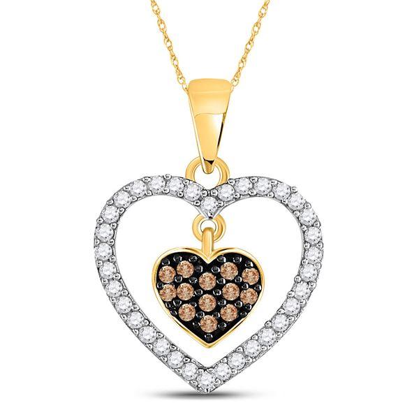 Brown Diamond Nested Dangle Heart Pendant 1/3 Cttw 10kt Yellow Gold