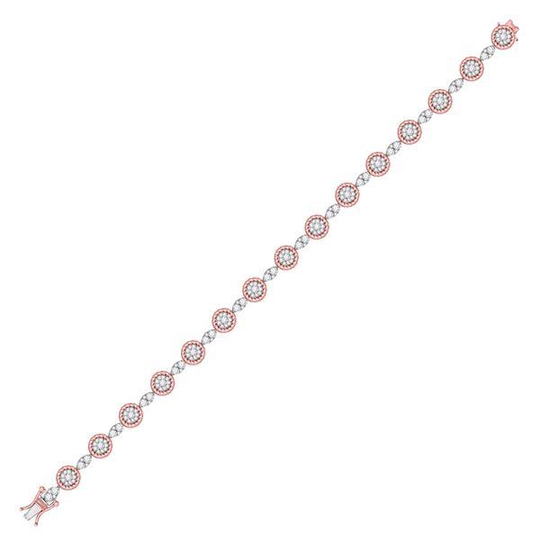 Diamond Flower Cluster Fashion Bracelet 2-1/2 Cttw 14kt Two-tone Gold