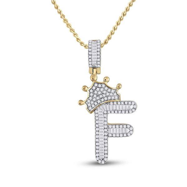 Mens Baguette Diamond Crown F Letter Charm Pendant 5/8 Cttw 10kt Yellow Gold