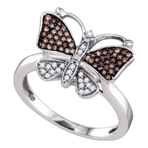 Brown Diamond Cluster Butterfly Bug Ring 1/5 Cttw 10k White Gold