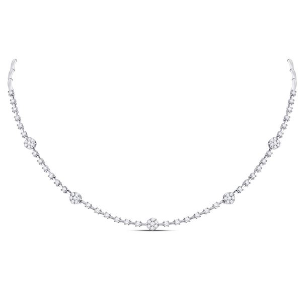 Diamond Cluster Luxury Necklace 1-7/8 Cttw 14kt White Gold