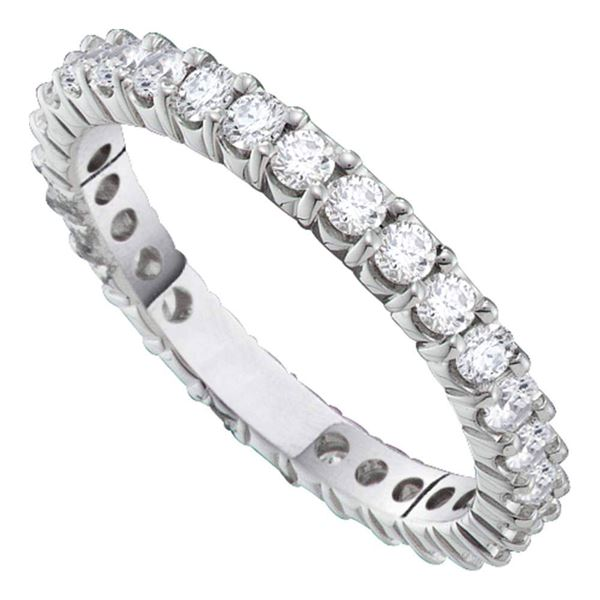 Pave-set Diamond Eternity Wedding Anniversary Band 1 Cttw 14kt White Gold