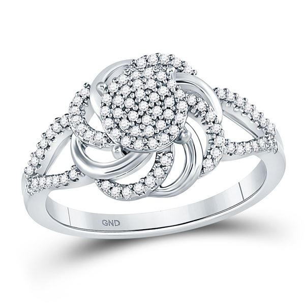 Diamond Flower Petals Cluster Ring 1/4 Cttw 10kt White Gold