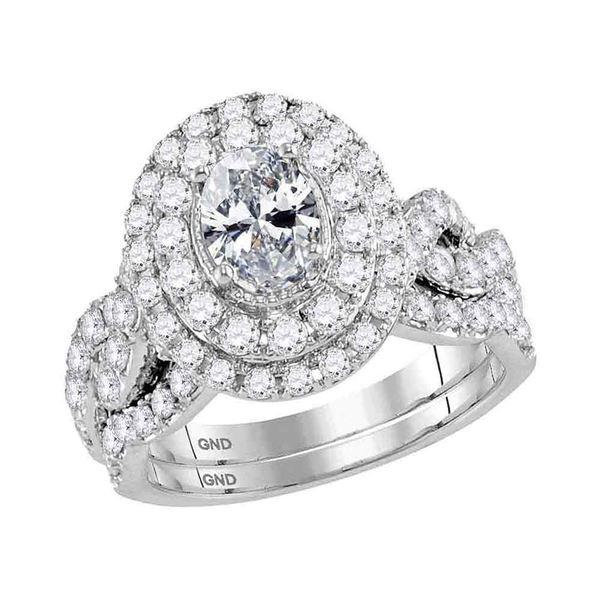 Oval Diamond Bridal Wedding Ring Band Set 2 Cttw 14kt White Gold