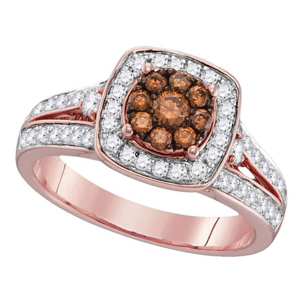 Brown Diamond Square Cluster Ring 1 Cttw 10kt Rose Gold