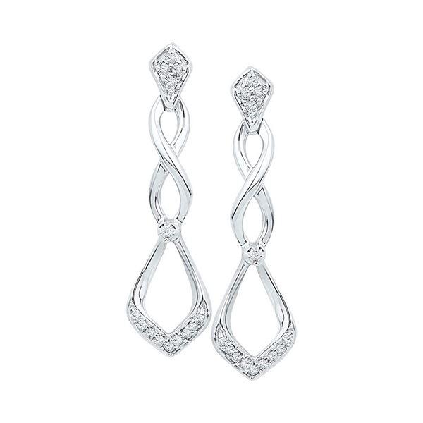 Diamond Cascading Teardrop Dangle Earrings 1/10 Cttw 10kt White Gold