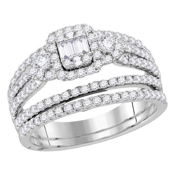 Baguette Diamond Bridal Wedding Ring Band Set 1 Cttw 14kt White Gold