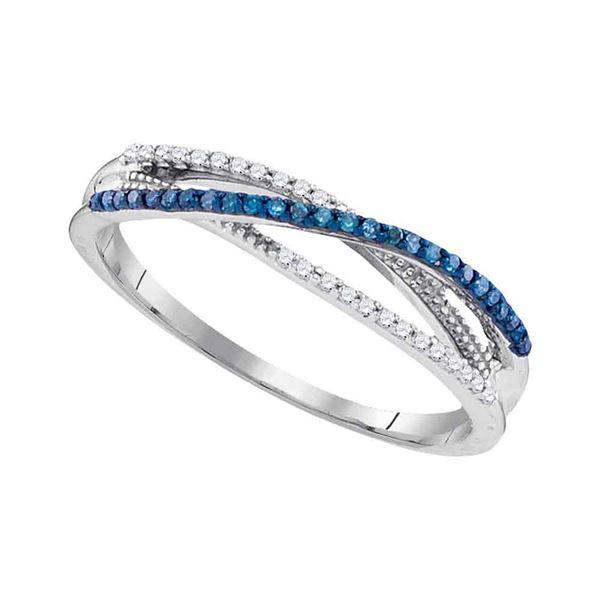 Blue Color Enhanced Diamond Band Ring 1/6 Cttw 10kt White Gold