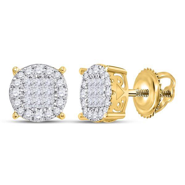 Princess Diamond Fashion Cluster Earrings 1/2 Cttw 14kt Yellow Gold