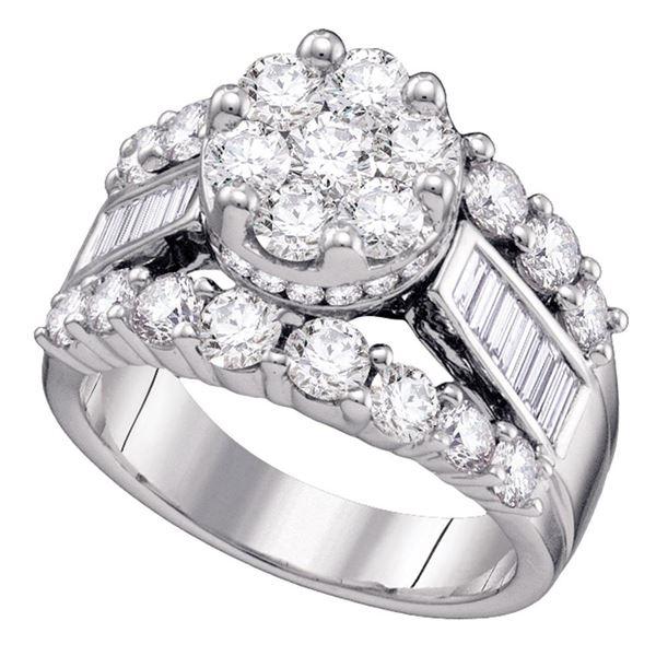 Diamond Cluster Bridal Wedding Engagement Ring 3 Cttw 14kt White Gold