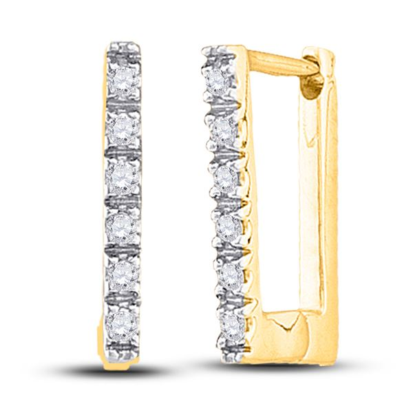 Diamond Rectangle Notched-post Hoop Earrings 1/20 Cttw 10kt Yellow Gold
