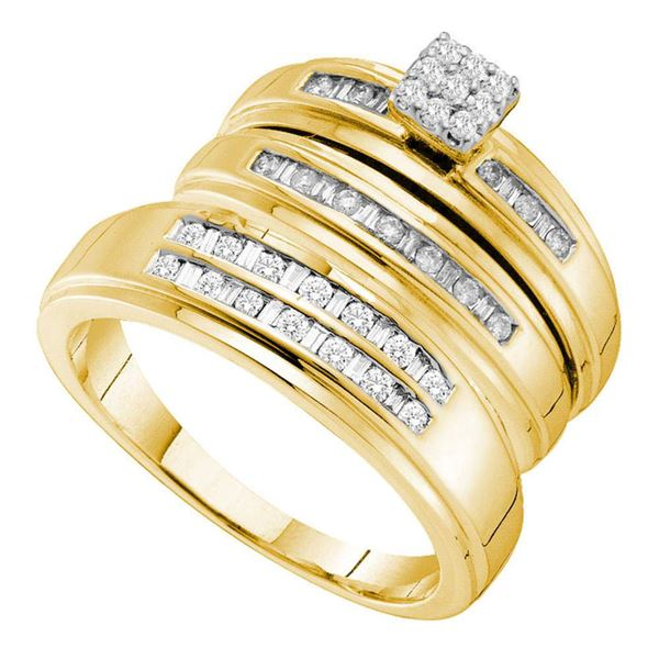 His Hers Diamond Cluster Matching Wedding Set 1/2 Cttw 14kt Yellow Gold
