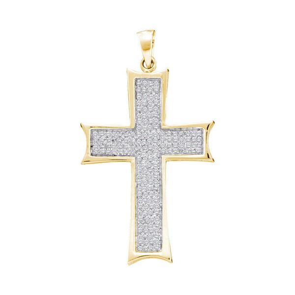 Mens Diamond Flared Roman Cross Charm Pendant 1/2 Cttw 10kt Yellow Gold