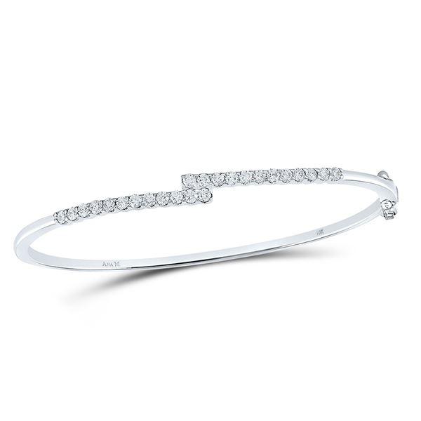 Diamond Bypass Bangle Bracelet 1 Cttw 14kt White Gold