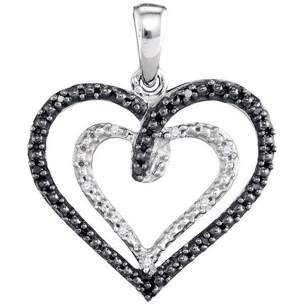 Black Color Enhanced Diamond Heart Pendant 1/20 Cttw Sterling Silver