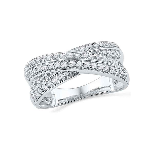 Diamond Crossover Band Ring 1/2 Cttw 10kt White Gold